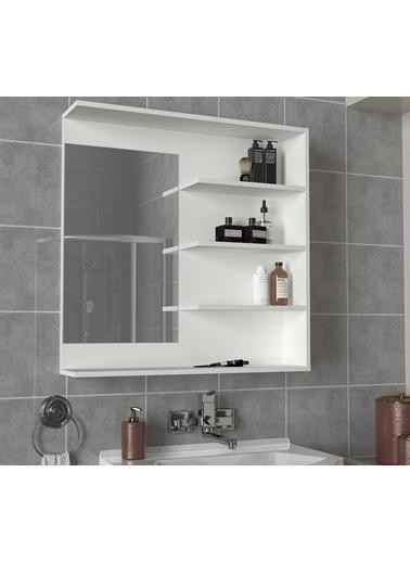 Dekorister Dekorister Antuan Aynalı Banyo Üst Dolabı Beyaz